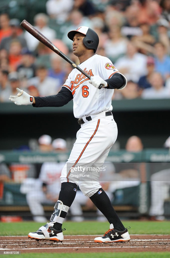 Jonathan Schoop #6 of the Baltimore Orioles reacts after striking out in the first inning against the Oakland Athletics at Oriole Park at Camden Yards on August 21, 2017 in Baltimore, Maryland.