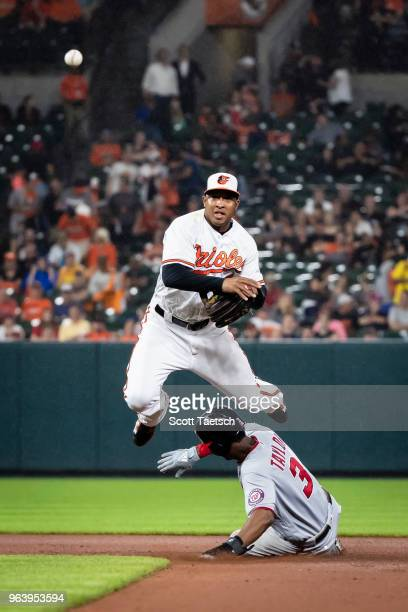 Jonathan Schoop of the Baltimore Orioles retires Michael Taylor of the Washington Nationals at second base during the seventh inning at Oriole Park...