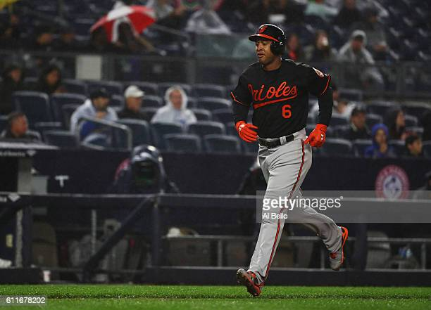 Jonathan Schoop of the Baltimore Orioles rounds the bases after hitting a three run home run against the New York Yankees in the fifth inning during...