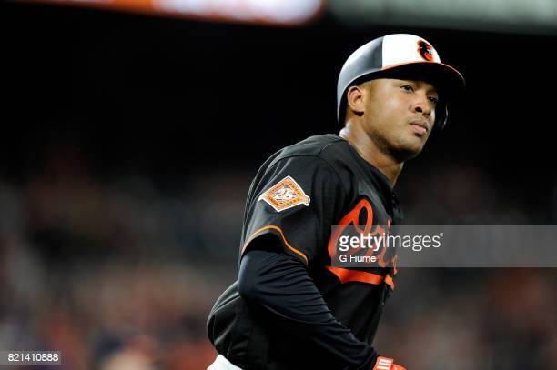 Jonathan Schoop of the Baltimore Orioles rounds the bases after hitting a threerun home run in the ninth inning against the Houston Astros at Oriole...