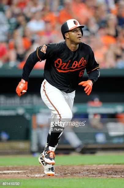 Jonathan Schoop of the Baltimore Orioles runs to first base against the Houston Astros at Oriole Park at Camden Yards on July 21 2017 in Baltimore...