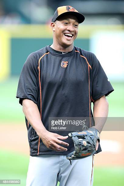 Jonathan Schoop of the Baltimore Orioles smiles during batting practice before the game against the Seattle Mariners at Safeco Field on August 11...