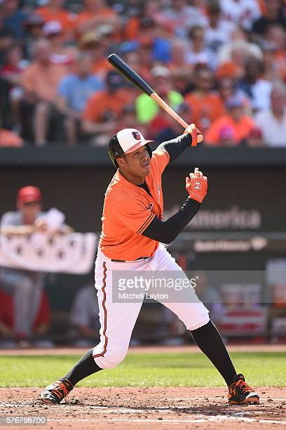 Jonathan Schoop of the Baltimore Orioles takes a swing during a baseball game against the Los Angeles Angels of Anaheim at Oriole Park at Camden...