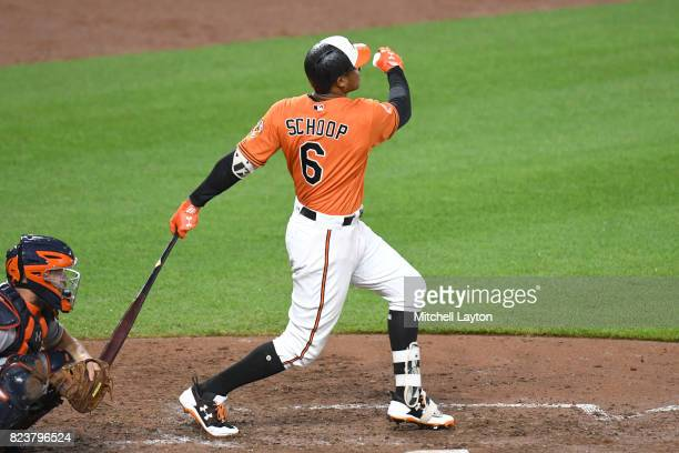 Jonathan Schoop of the Baltimore Orioles takes a swing during a baseball game against the Houston Astros at Oriole Park at Camden Yards on July 22...