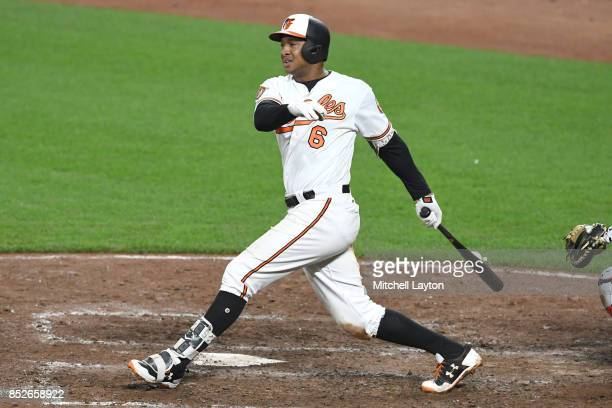 Jonathan Schoop of the Baltimore Orioles takes a swing during a baseball game against the Boston Red Sox at Oriole Park at Camden Yards on September...