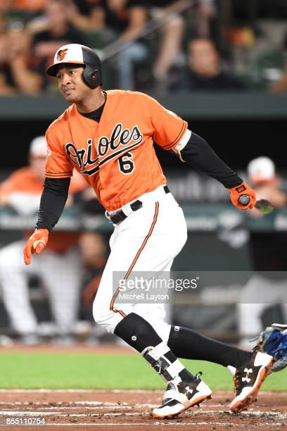 Jonathan Schoop of the Baltimore Orioles takes a swing during a baseball game against the Tampa Bay Rays at Oriole Park at Camden Yards on September...