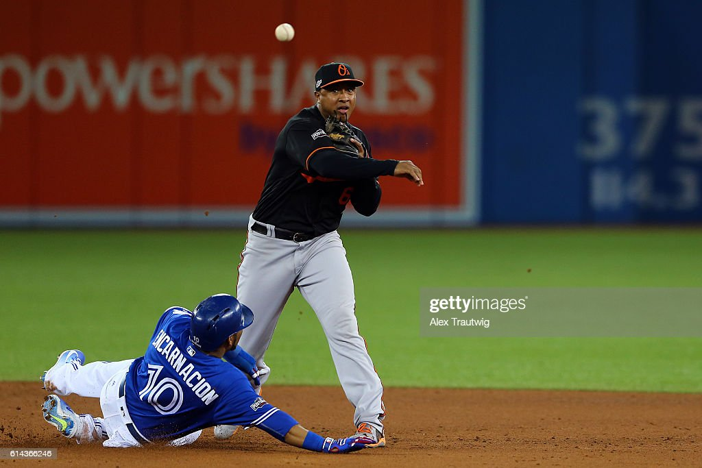 Jonathan Schoop #6 of the Baltimore Orioles turns a double play as Edwin Encarnacion #10 of the Toronto Blue Jays slides into second during the American League Wild Card Game at the Rogers Centre on Tuesday, October 4, 2016 in Toronto, Ontario.