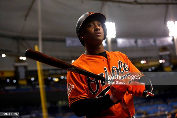 Jonathan Schoop of the Baltimore Orioles waits on deck to bat during the ninth inning of a game against the Tampa Bay Rays on September 30 2017 at...