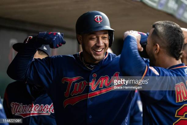 Jonathan Schoop of the Minnesota Twins celebrates after hitting a home run against the Houston Astros on May 1 2019 at the Target Field in...