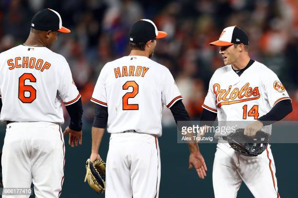 Jonathan SchoopJJ Hardy and Craig Gentry of the Baltimore Orioles celebrate after defeating the Toronto Blue Jays 31 at Oriole Park at Camden Yards...