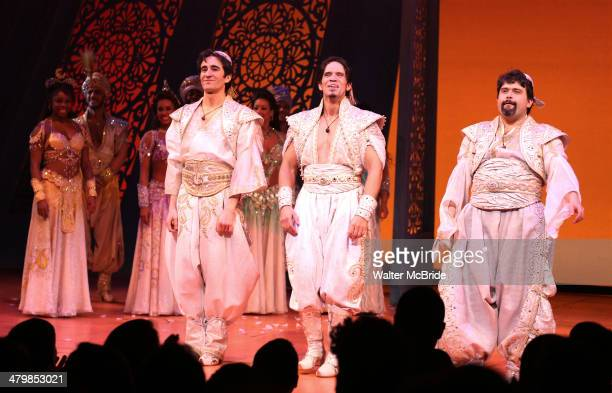 Jonathan Schwartz Brandon O'Neill Brian Gonzales Babkak and cast during the Broadway Opening Night Performance Curtain Call for Disney's 'Aladdin' at...