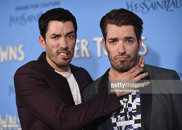 Jonathan Scott and Drew Scott attend the 'Paper Towns' New York Premiere at AMC Loews Lincoln Square on July 21 2015 in New York City