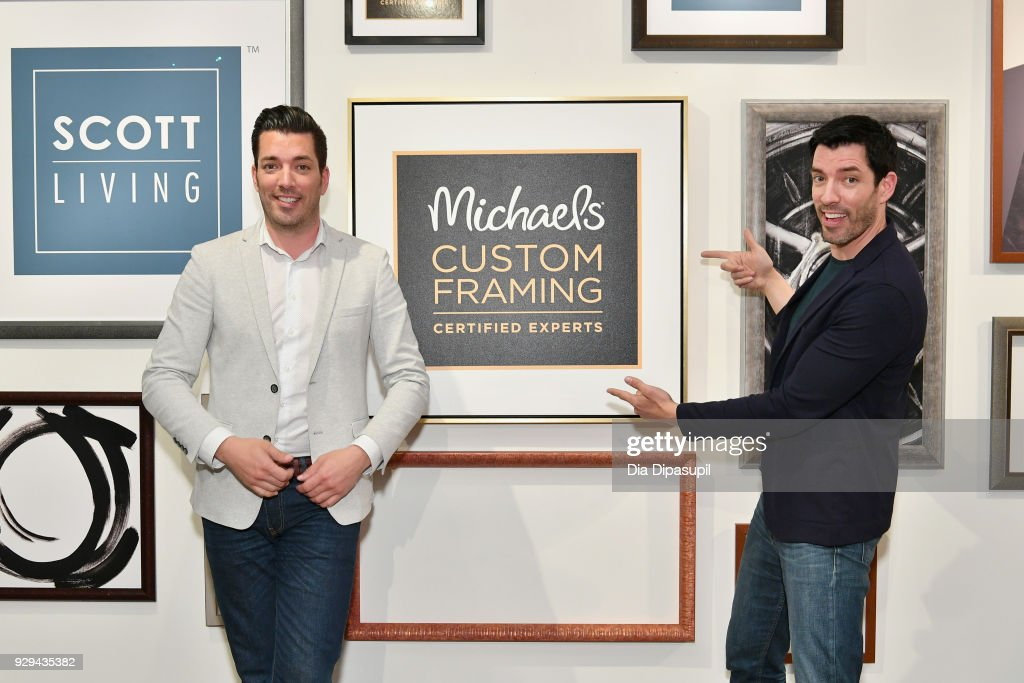Jonathan Scott and Drew Scott celebrate the launch of their first custom framing program, Scott Living, available exclusively at Michaels on March 8, 2018 in New York City.