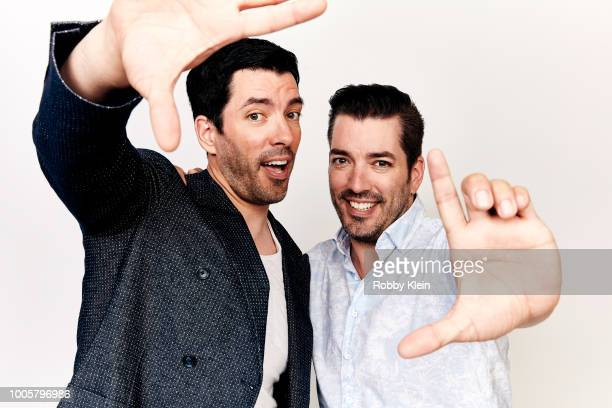 Jonathan Scott and Drew Scott from the Real Estate Renovations and Sibling Connections panel pose for a portrait during the 2018 Summer Television...