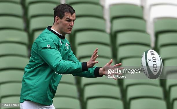 Jonathan Sexton catches the ball during the Ireland captain's run at the Aviva Stadium on March 17 2017 in Dublin Ireland