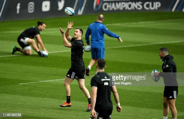 Jonathan Sexton catches the ball during the Leinster captain's run at St James Park on May 10 2019 in Newcastle upon Tyne England