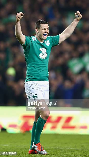 Jonathan Sexton of Ireland celebrates victory after the RBS Six Nations match between Ireland and France at the Aviva Stadium on February 14 2015 in...