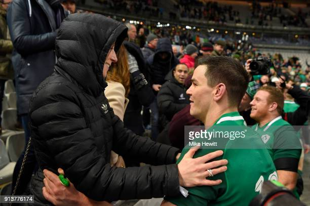 Jonathan Sexton of Ireland embraces his wife Laura after dropping a long range goal to win the match for Ireland in the NatWest Six Nations match...