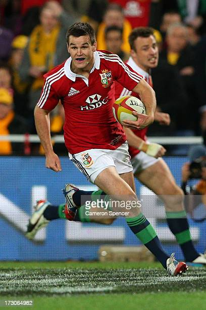 Jonathan Sexton of the Lions celebrates scoring a try during the International Test match between the Australian Wallabies and British Irish Lions at...