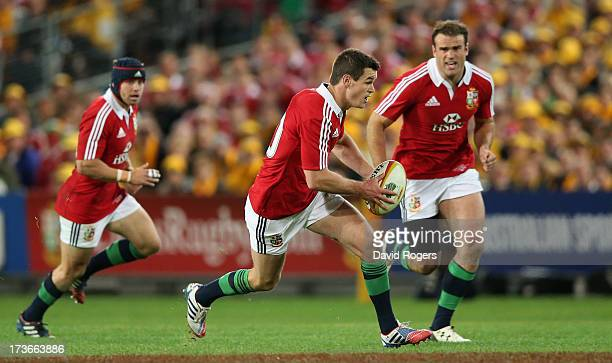 Jonathan Sexton of the Lions charges upfield during the International Test match between the Australian Wallabies and British Irish Lions at ANZ...