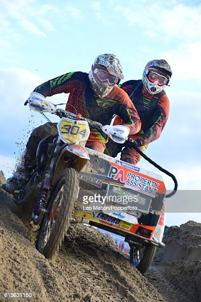 Jonathan Sheard sidecar competitor in the Hydrogarden Western Beach Race on October 8 2016 in WestonSuperMare England