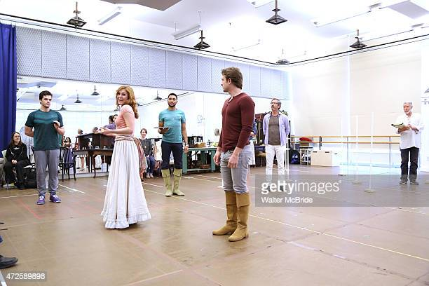 Jonathan Shew, Mara Davi, Charl Brown, James Snyder, Charles Shaughnessy and the cast during a press rehearsal for the Paper Mill Playhouse...