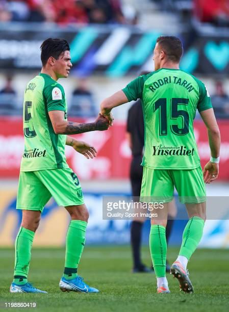 Jonathan Silva and Rodri Tarin of CD Leganes react during the Copa del Rey match between Real Murcia CF and CD Leganes at Estadio Nueva Condomina on...