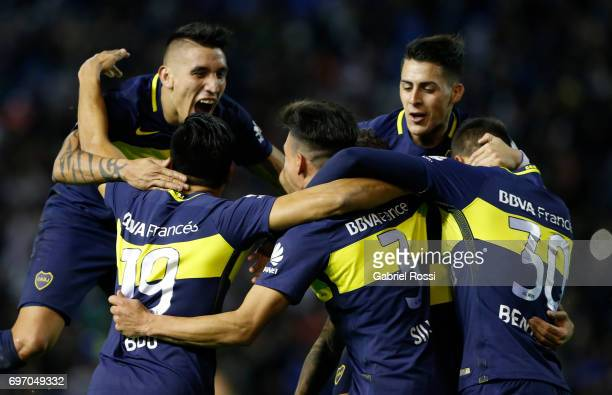 Jonathan Silva of Boca Juniors celebrates with teammates after scoring the fourth goal of his team during a match between Aldosivi and Boca Juniors...