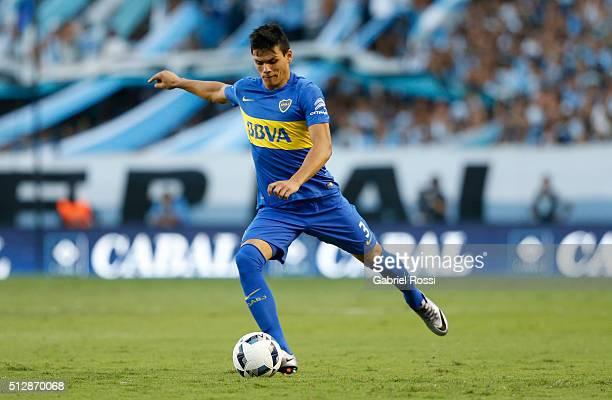 Jonathan Silva of Boca Juniors kicks the ball during a fifth round match between Racing Club and Boca Juniors as part of Torneo Transicion 2016 at...