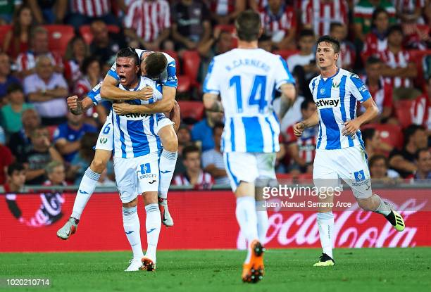 Jonathan Silva of CD Leganes celebrates after scoring during the La Liga match between Athletic Club and CD Leganes at San Mames Stadium on August 20...