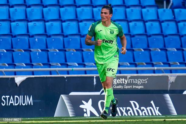 Jonathan Silva of CD Leganes celebrates his team's first goal during the Liga match between RCD Espanyol and CD Leganes at RCDE Stadium on July 05,...