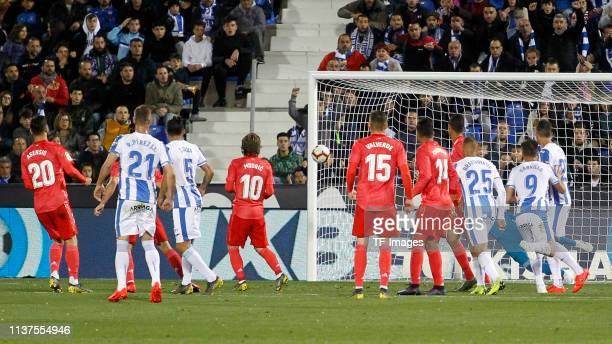 Jonathan Silva of CD Leganes celebrates his team's goal with team mates during the La Liga match between CD Leganes and Real Madrid CF at Estadio...