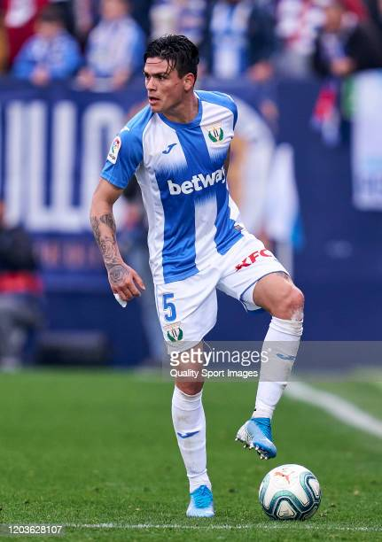 Jonathan Silva of CD Leganes looks on during the Liga match between CD Leganes and Real Sociedad at Estadio Municipal de Butarque on February 02,...