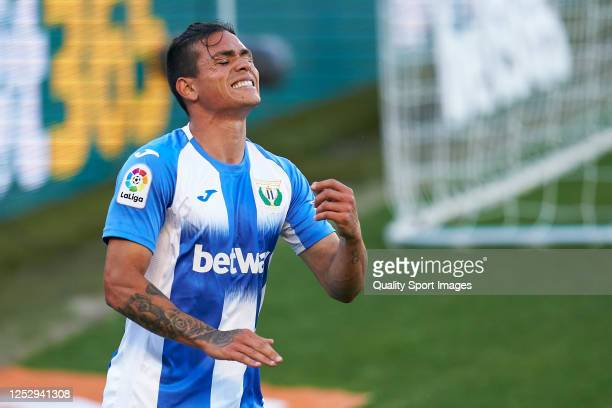Jonathan Silva of CD Leganes reacts during the La Liga match between CA Osasuna and CD Leganes at Estadio El Sadar on June 27, 2020 in Pamplona,...