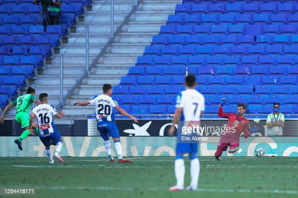 Jonathan Silva of CD Leganes scores the 0-1 during the Liga match between RCD Espanyol and CD Leganes at RCDE Stadium on July 05, 2020 in Barcelona,...