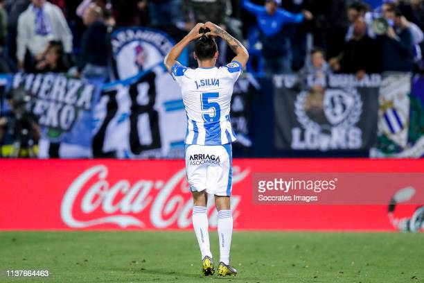 Jonathan Silva of Leganes celebrates goal 1-0 during the La Liga Santander match between Leganes v Real Madrid at the Estadio Municipal de Butarque...