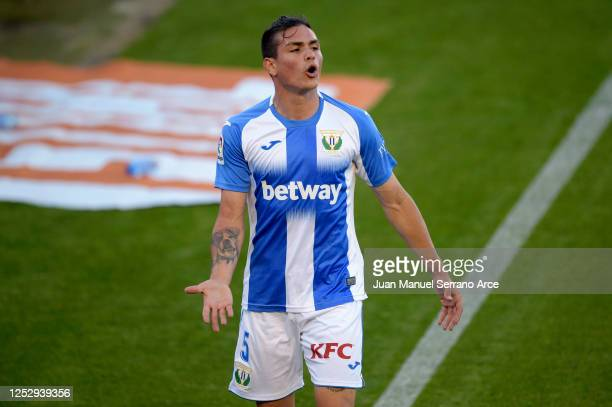 Jonathan Silva of Leganes reacts during the Liga match between CA Osasuna and CD Leganes at Estadio El Sadar on June 27, 2020 in Pamplona, Spain.