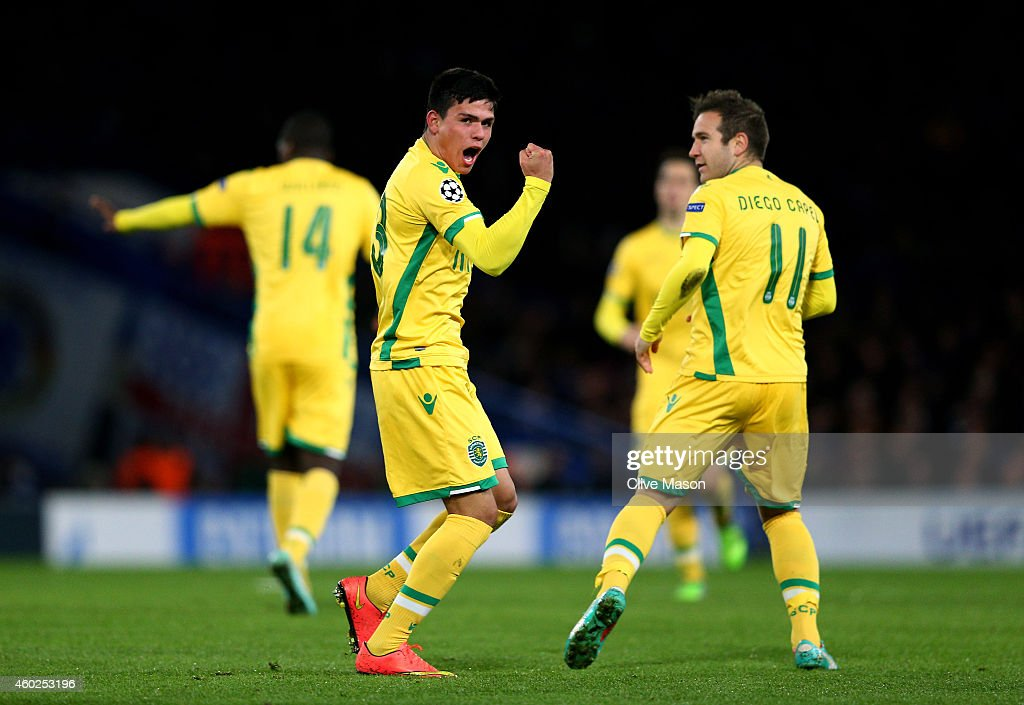 Jonathan Silva of Sporting Lisbon celebrates after scoring his team's first goal during the UEFA Champions League group G match between Chelsea and Sporting Clube de Portugal at Stamford Bridge on December 10, 2014 in London, United Kingdom.