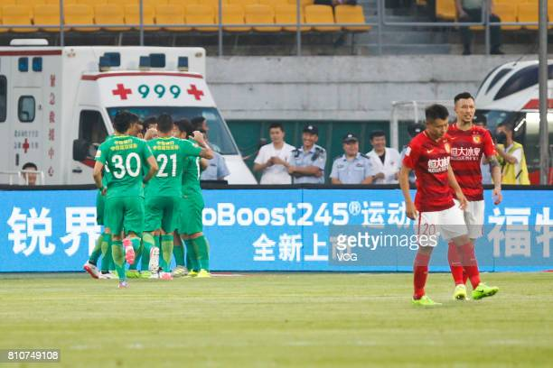 Jonathan Soriano of Beijing Guoan celebrates a point with teammates during the 16th round match of 2017 Chinese Football Association Super League...