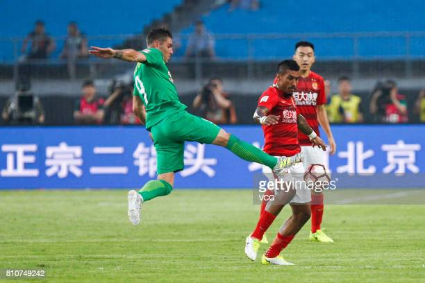 Jonathan Soriano of Beijing Guoan kicks the ball during the 16th round match of 2017 Chinese Football Association Super League between Beijing Guoan...