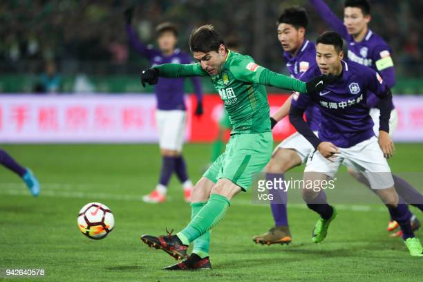 Jonathan Soriano of Beijing Guoan shoots the ball during the 2018 Chinese Super League match between Beijing Guoan and Tianjin Teda at Workers...
