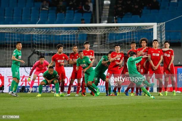 Jonathan Soriano of Beijing Guoan takes a free kick during the 6th round match of China Super League between Beijing Guoan and Tianjin Quanjian at...