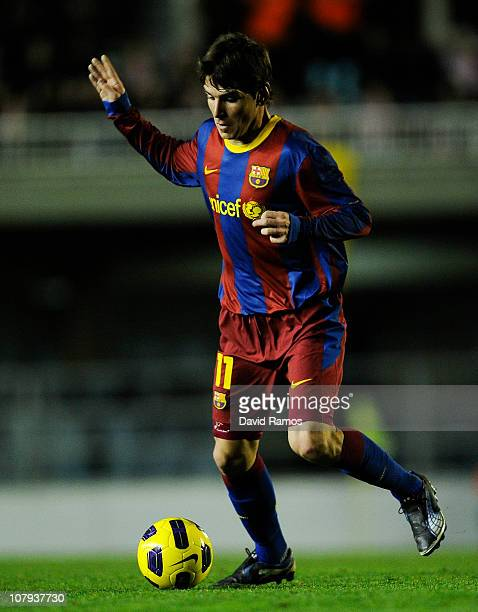 Jonathan Soriano of FC Barcelona B runs with the ball during the La Liga Adelante match between FC Barcelona B and Girona at Mini Estadi on January 8...
