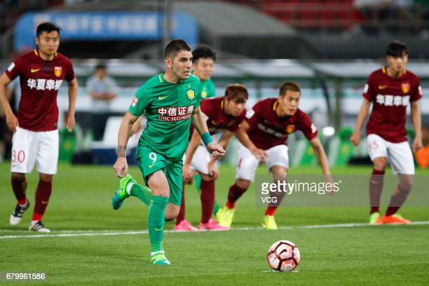 Jonathan Soriano of Hebei CFFC makes a penalty kick during 2017 Chinese Football Association Super League 8th round match between Beijing Sinobo...