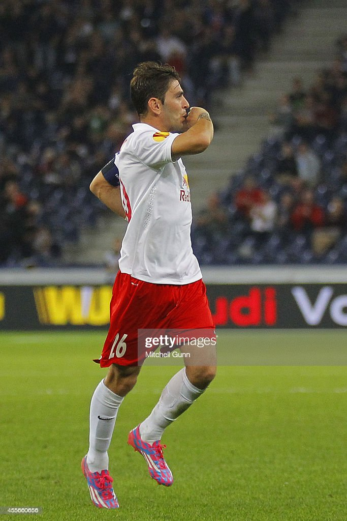 Jonathan Soriano of Salzburg celebrates scoring a goal during the UEFA Europa League match between Salzburg and Celtic. September 18, 2014 in Salzburg, Austria.
