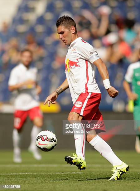 Jonathan Soriano of Salzburg in action during the preseason semi final 1 match between FC Red Bull Salzburg and SV Werder Bremen as part of the Audi...