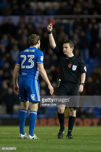 Jonathan Spector of Birmingham City is sent off by the referee Tony Harrington during the Sky Bet Championship match between Birmingham City and...