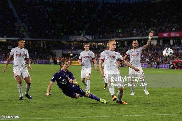 Jonathan Spector of Orlando City heads towards goal during the MLS match between Atlanta United and Orlando City at Orlando City Stadium on July 21...