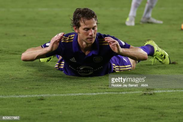 Jonathan Spector of Orlando City reacts during the MLS match between Atlanta United and Orlando City at Orlando City Stadium on July 21 2017 in...