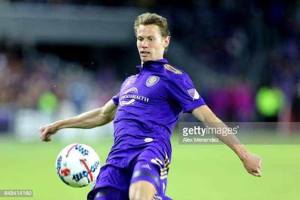 Jonathan Spector of Orlando City SC focuses on the ball during a MLS soccer match between New York City FC and Orlando City SC at the Orlando City...